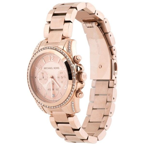 Michael Kors Blair Ladies Chronograph Watch MK5263 (£160) ❤ liked on Polyvore featuring jewelry, watches, michael kors, rose gold, analog chronograph watch, chronograph wrist watch, rose gold tone jewelry, quartz movement watches and michael kors jewelry