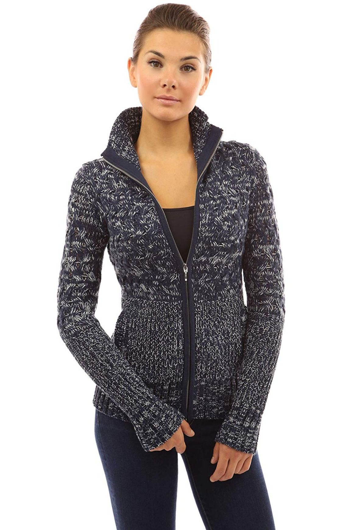 934da5c41413 PattyBoutik Women's Mock Neck Marled Zip Up Cardigan 4.1 out of 5 ...