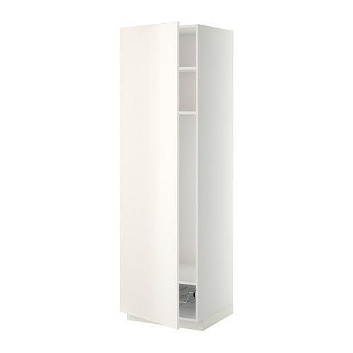 IKEA - METOD, Hochschrank mit Böden Drahtkorb, weiß, Veddinge weiß