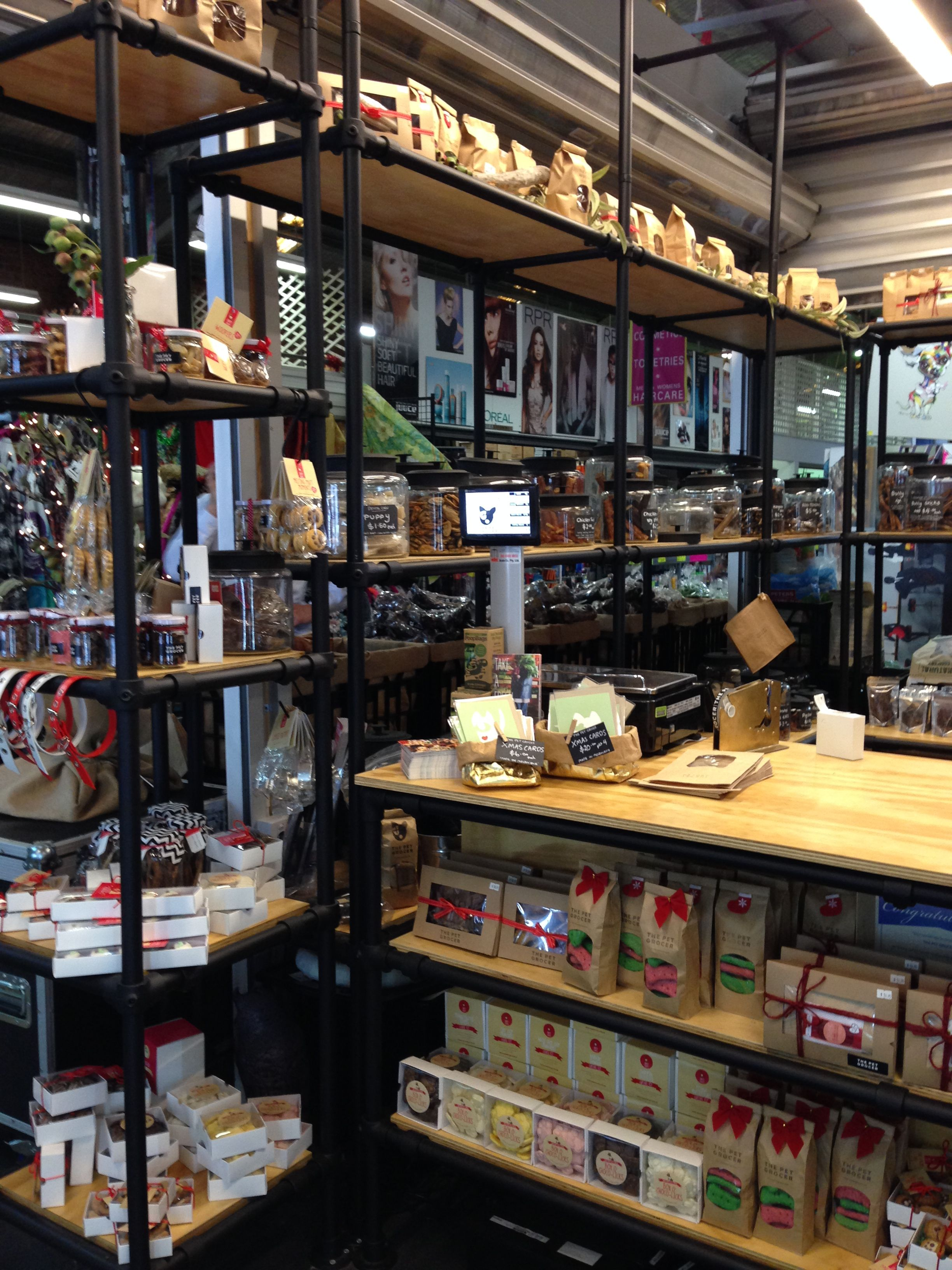 Scaffold Display The Pet Grocer South Melbourne Market Pet Store Ideas Store Decor Industrial Shelving