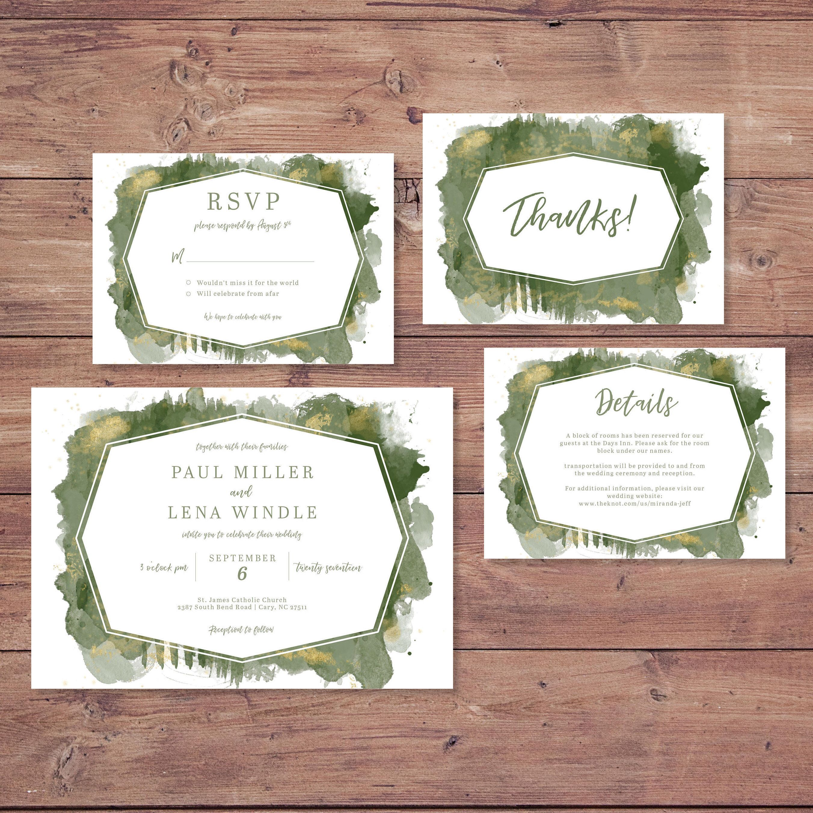 Jade Green and Gold Watercolor Wedding Invitation Set Wedding Invite