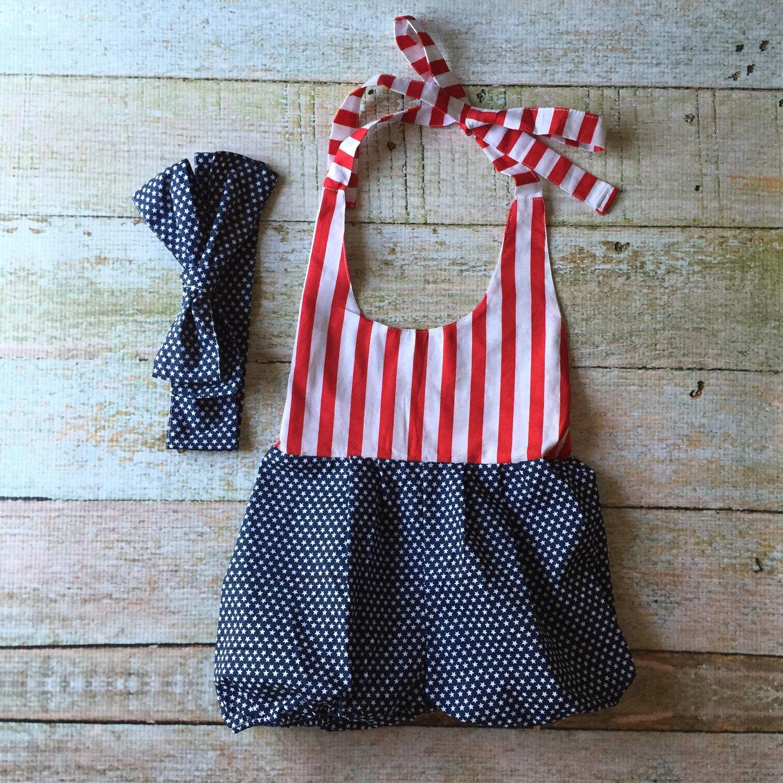 bbdebccab9f Baby Romper Fourth of July - matching head wrap
