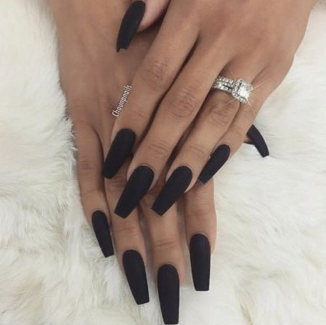 Black Matte Coffin Nails More