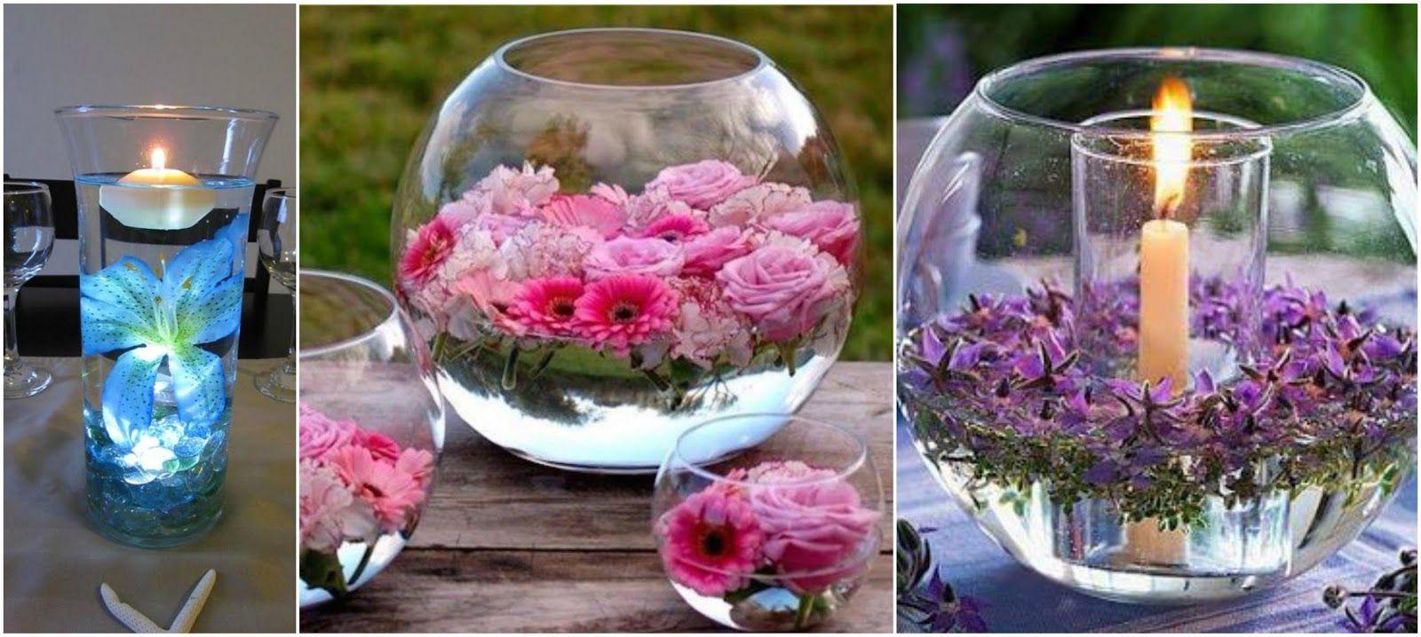 Peceras para tu mesa con flores flotantes truco casero - Centros de mesa con peceras ...