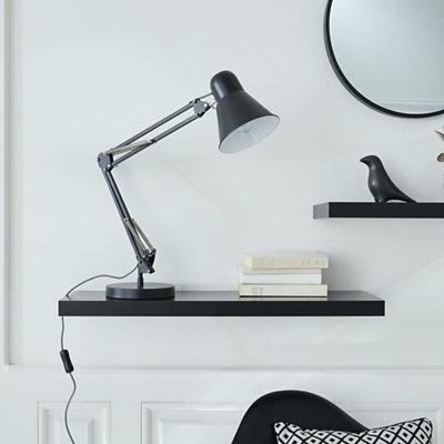 Lampe De Bureau Acuna Metal Noir En 2020 Lampe De Bureau Castorama Et Metal Noir