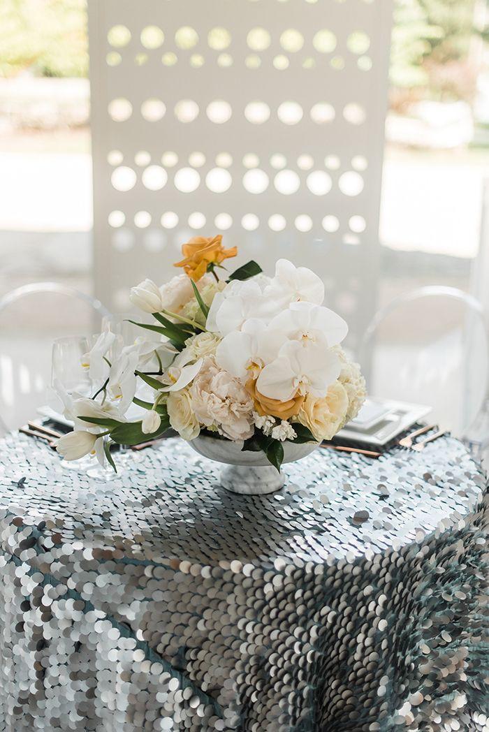 Modern Marble And Metallic Wedding Decor Metallic Wedding Decor White Floral Centerpieces Metallic Wedding