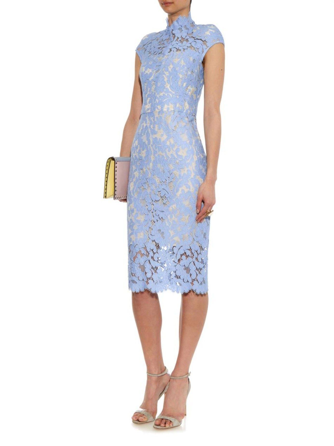 Light blue lace midi dress