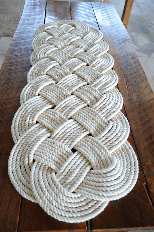 Nautical Rope Rug Large Bath Mat Off