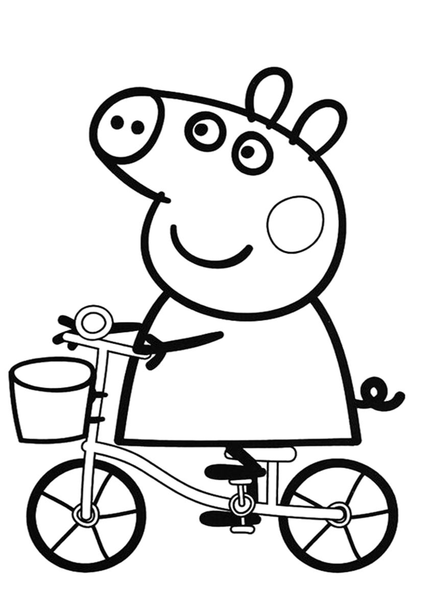Peppa On A Bike Peppa Pig Coloring Pages Peppa Pig Colouring