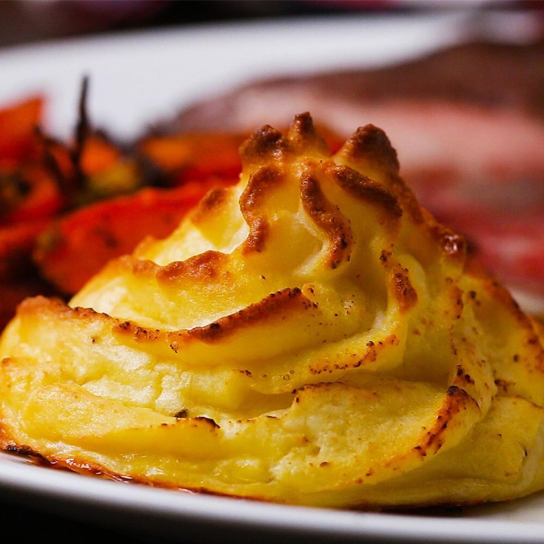 Gravy Stuffed Duchesse Potatoes Recipe By Tasty Recipe Fancy Potatoes Recipe Food Stuffed Mashed Potatoes