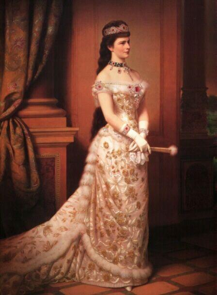 l'imperatrice Sissi ritratta mentre indossa la favolosa parure di rubini voluta da Maria Antonietta e passata poi al tesoro imperiale