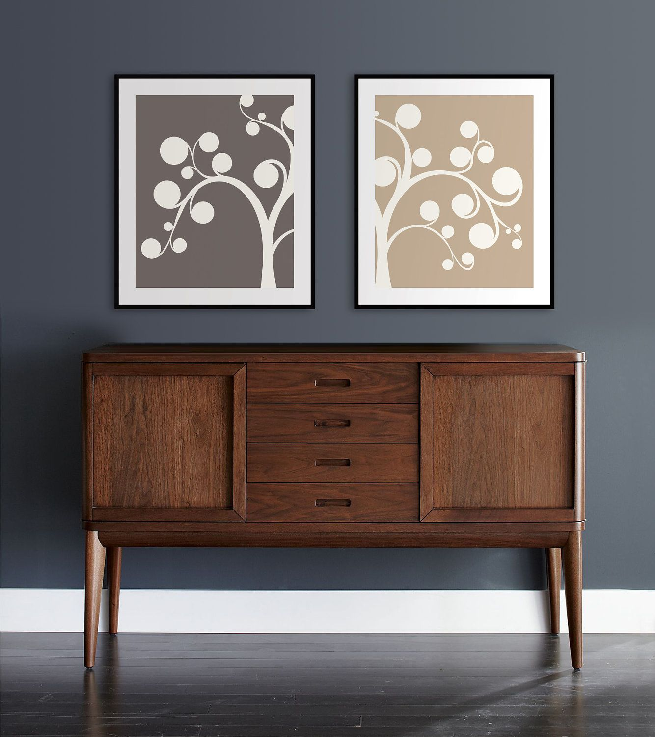 set of two 8x10 whimsical tree prints willow modern art home