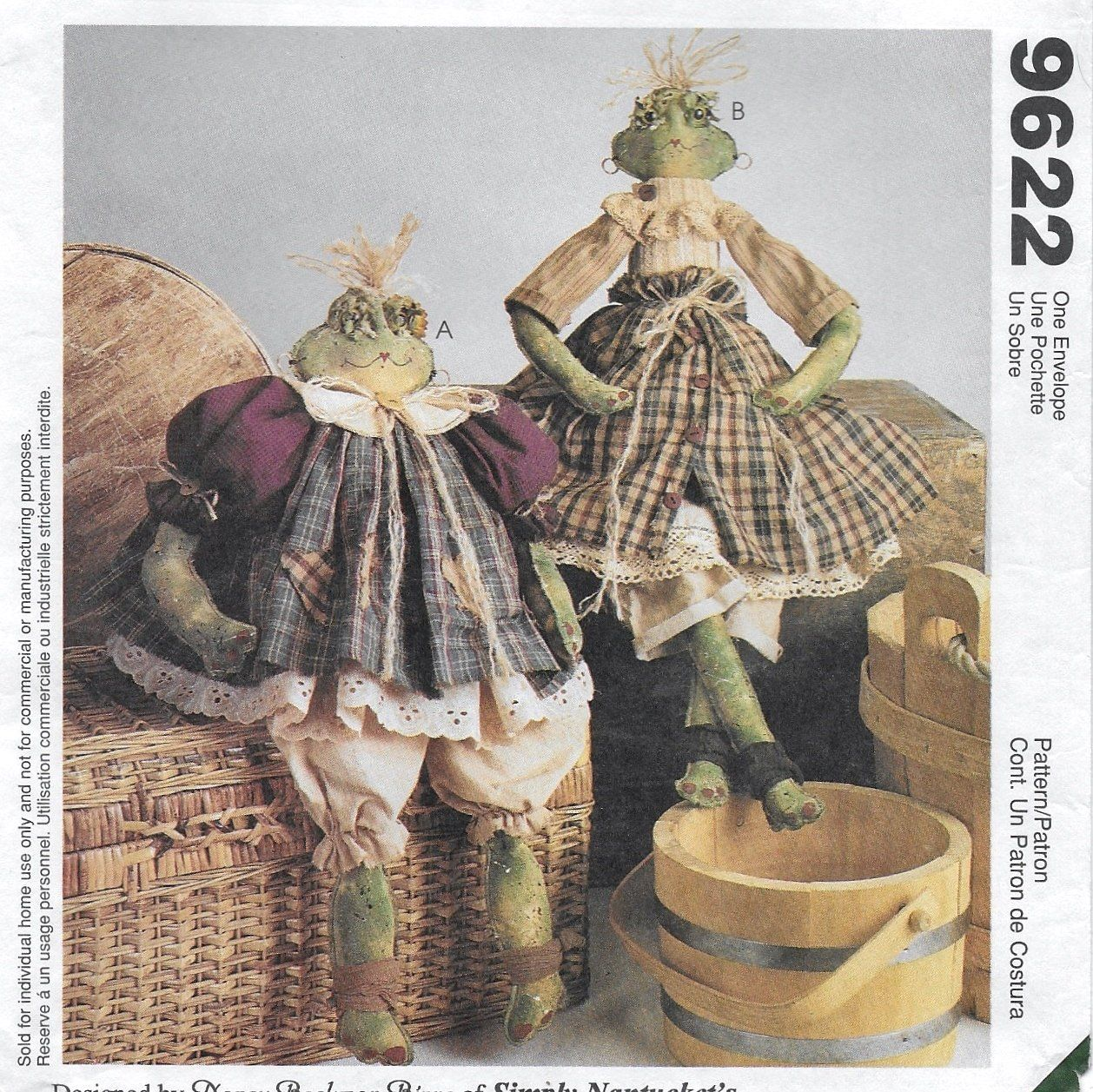 McCall's 9622 FROG RIBBIT SISTERS 17 /& 22 INCH PATTERN