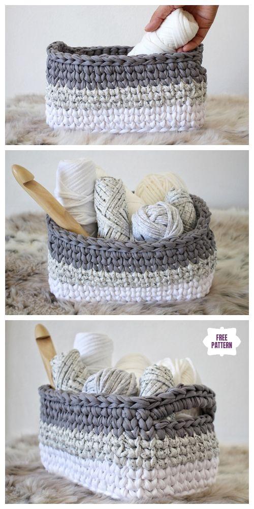 Crochet Rectangle Basket Free Patterns Crochet Croche Cestas De