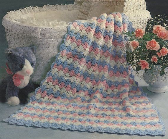 Baby Shell Afghan No. 2815-01 Crochet Vintage Pattern | Baby crochet ...