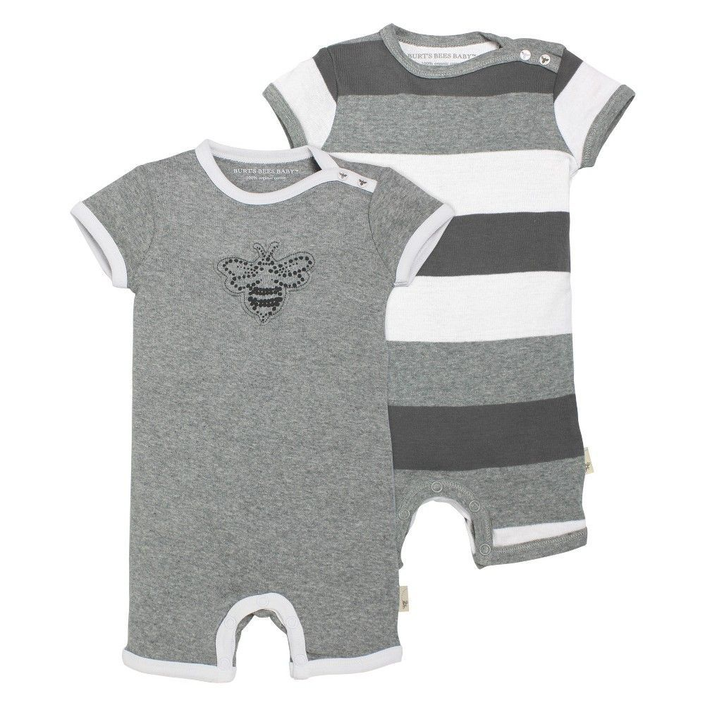 Burt\'s Bees Baby Baby 2 Piece Shortall Set - Heather Grey NB, Infant ...