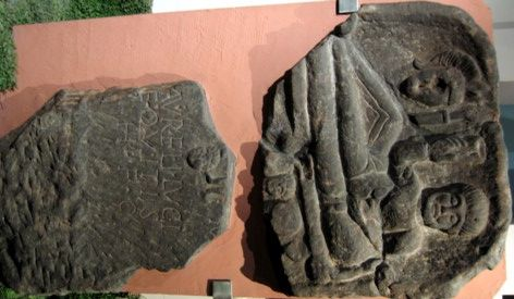 """Tombstone of  Aurelius Lucius, from Deva (Chester)  Dis Manibus Aureli Luci equitis heres faciendum curavit. This means: """"To the spirits of the departed and (the spirit) of Aurelius Lucius, cavalryman. His heir had this made.""""  The Romans usually recruited their cavalry from the less civilised parts of the Empire. Aurelius' appearance, with large moustache and stiff spiky hair, suggests that he came from a barbarian background."""