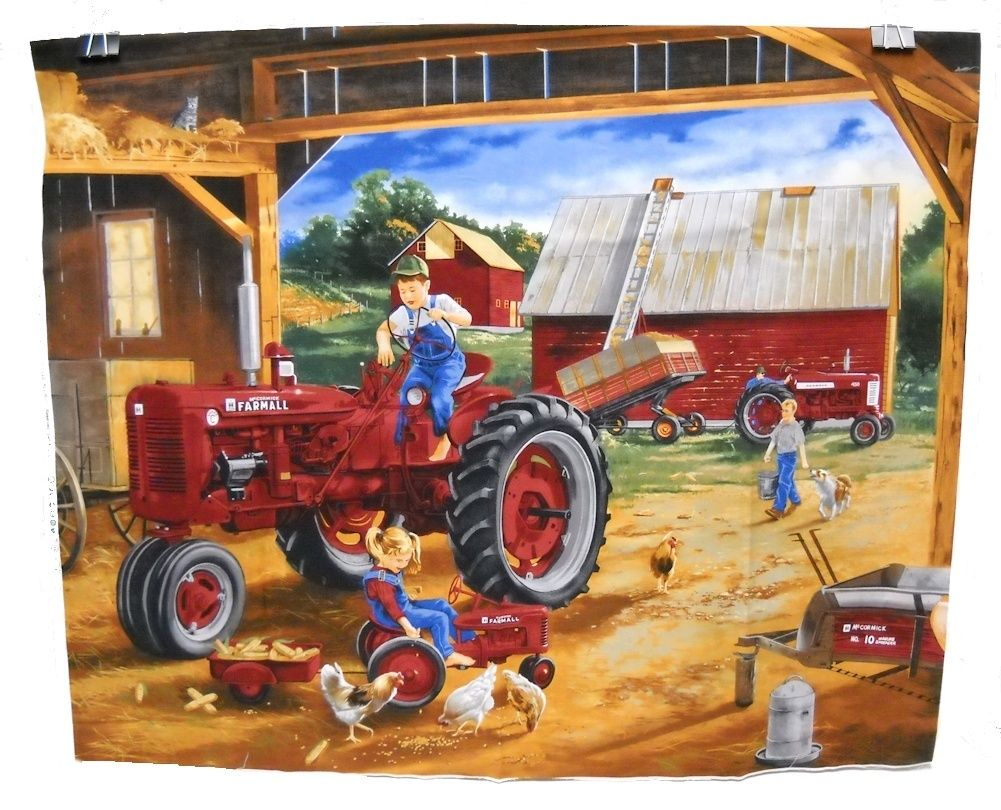 Farmall Country Check Panel Fabric