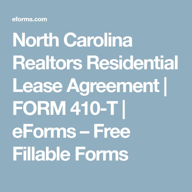 North Carolina Realtors Residential Lease Agreement Form
