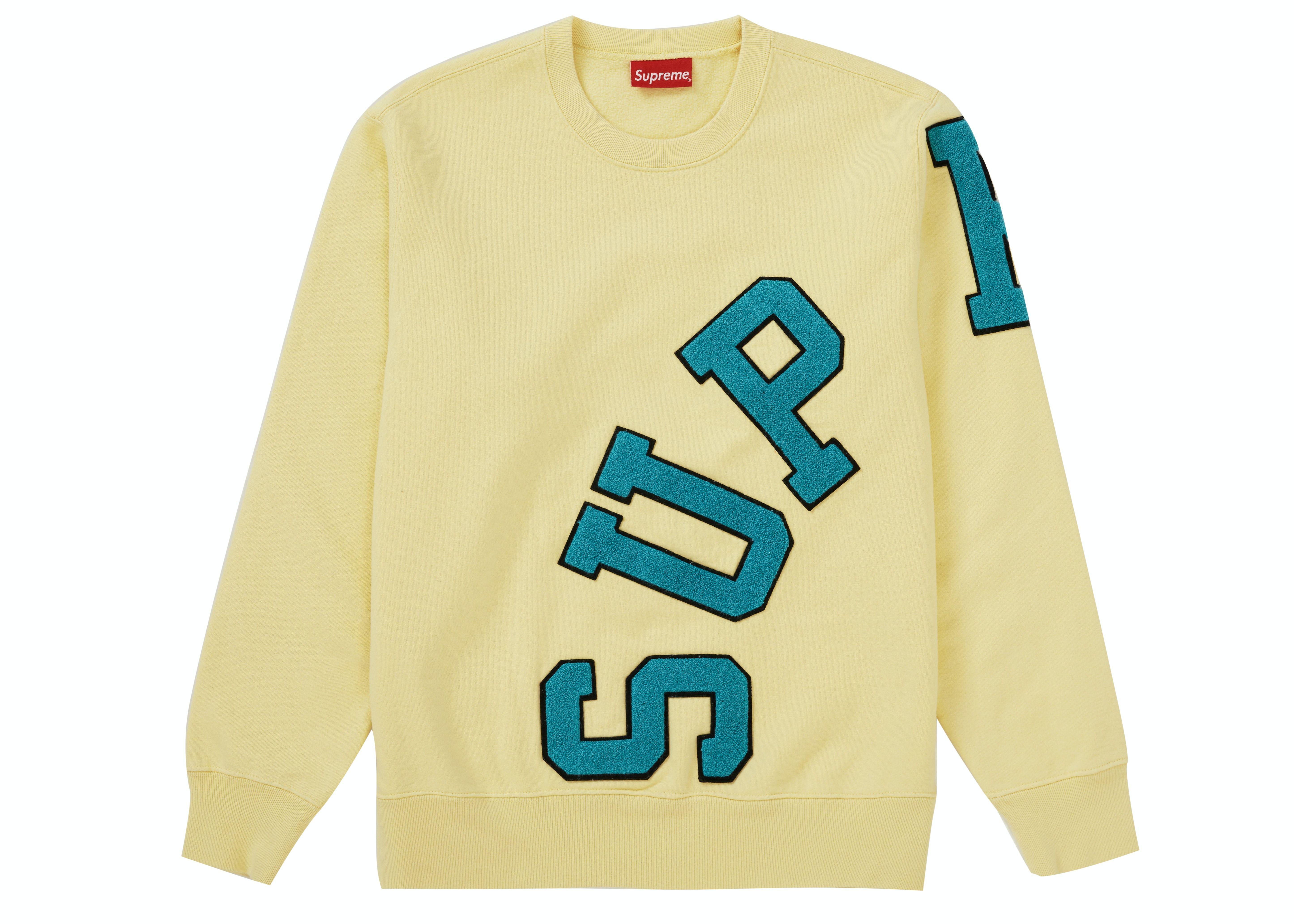 Supreme Big Arc Crewneck Light Yellow In 2021 Graphic Sweatshirt Crew Neck Sweatshirts [ 4130 x 5782 Pixel ]