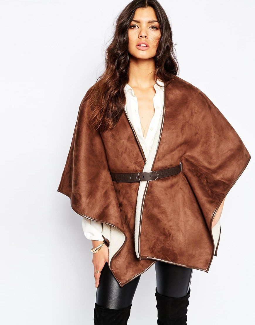 Image 1 of River Island Belted Faux Shearling Cape | Fashion ...