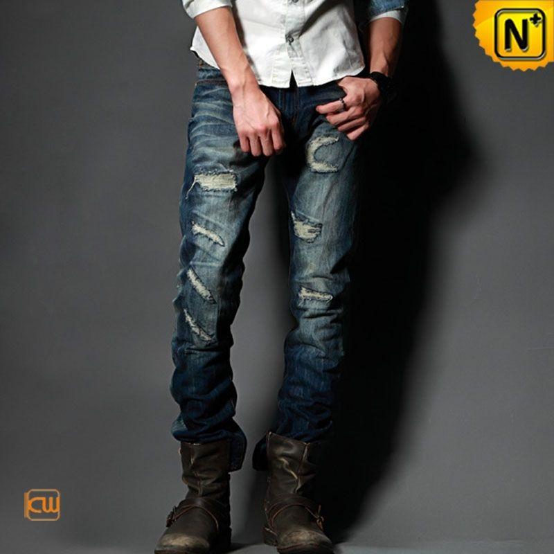 Stylish Patch Jeans For Men 2016 Streetstyle Rivet Hole Ripped ...