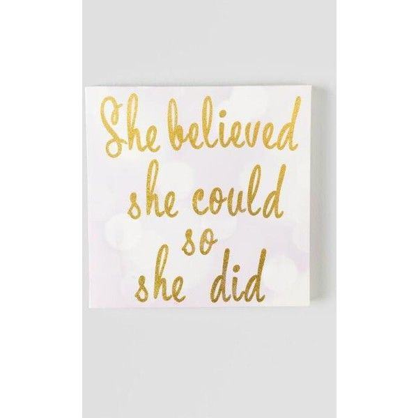 She Believed She Could Canvas Wall Decor (£18) ❤ liked on Polyvore featuring home, home decor, wall art, canvas home decor, canvas wall art, inspirational wall art, inspirational home decor and home wall decor