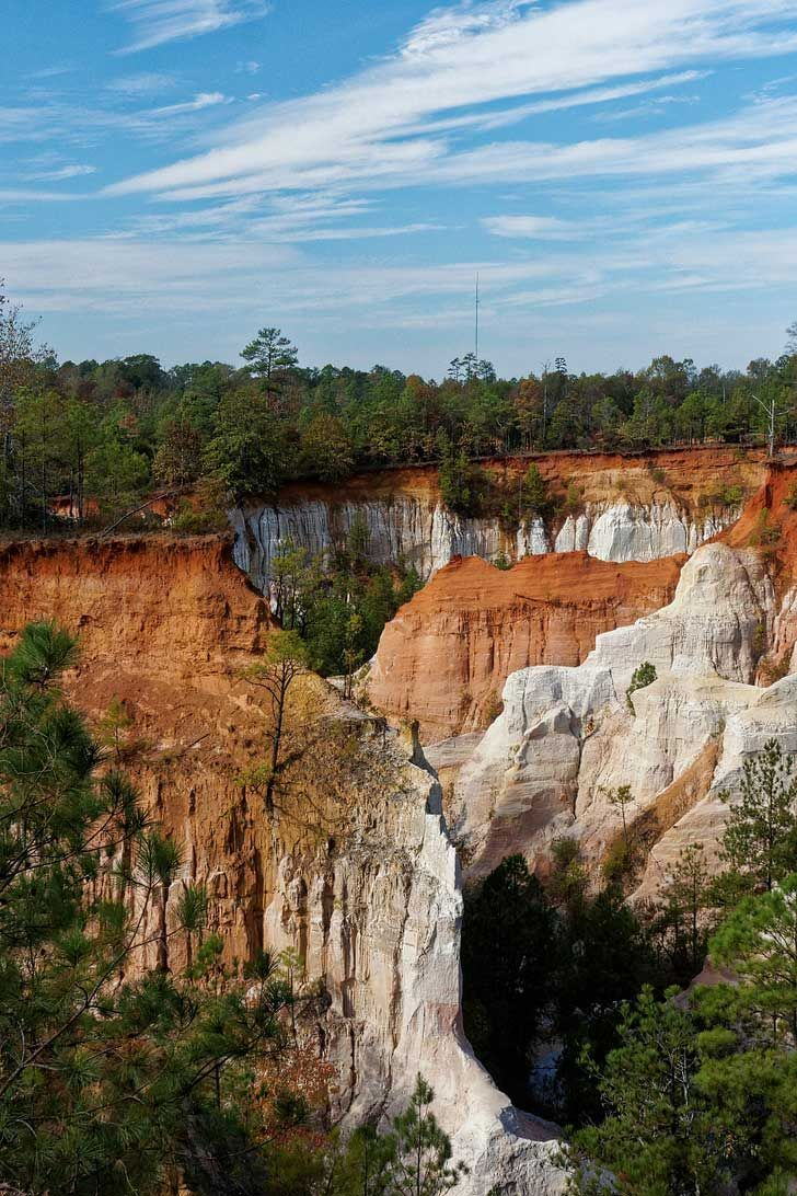 """Providence Canyon State Park is also referred to as the """"Little Grand Canyon"""" of Georgia. It offers the most picturesque views with tones of orange, pink, and red // http://localadventurer.com"""