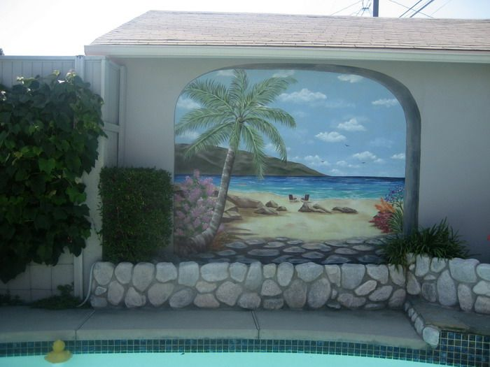 Classic Beach Murals For Outdoor Garden (700× · Painted Wall ... Awesome Design