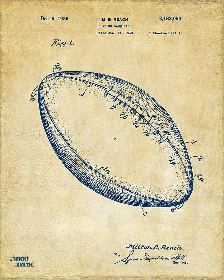 1939 football patent artwork vintage by nikki marie smith