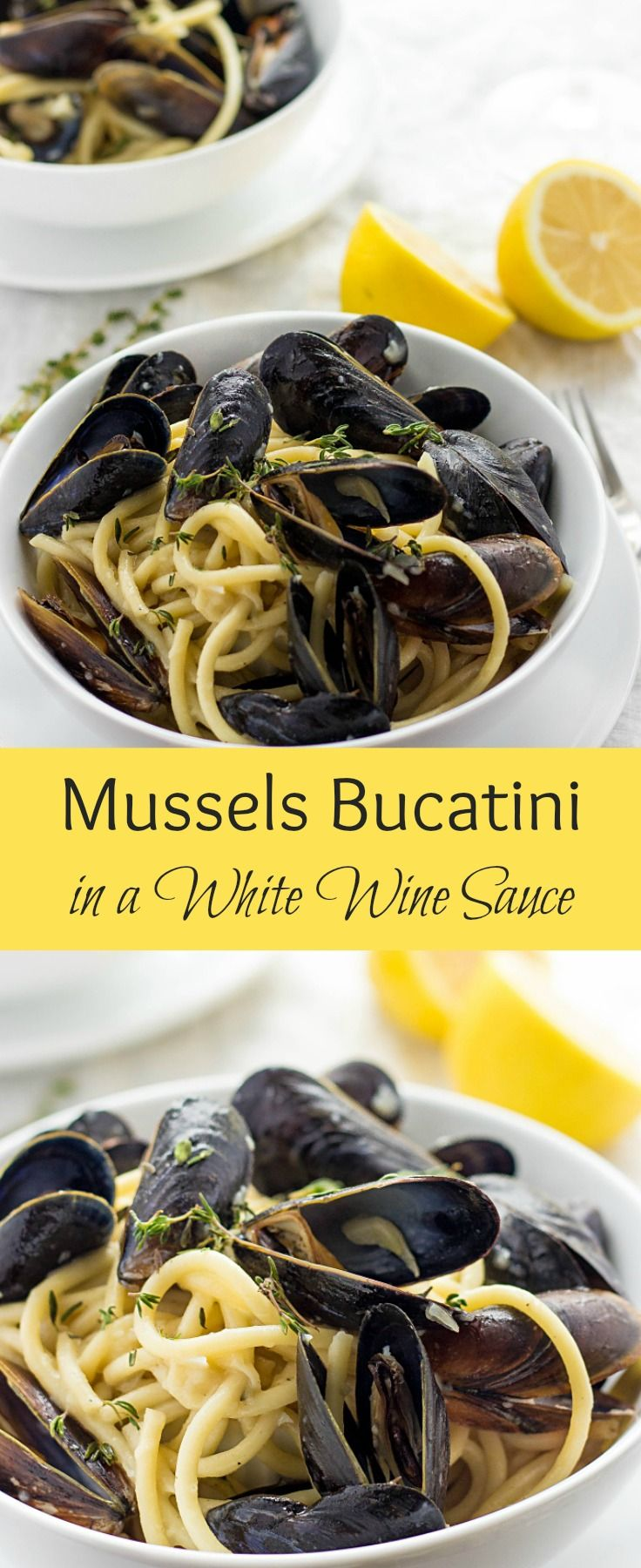 Mussels Bucatini In A White Wine Sauce via @https://www.pinterest.com/lavenderandmcrn/