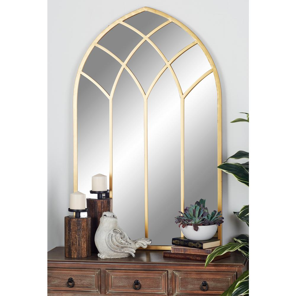 Litton Lane Arched Gold Decorative Mirror with Geometric