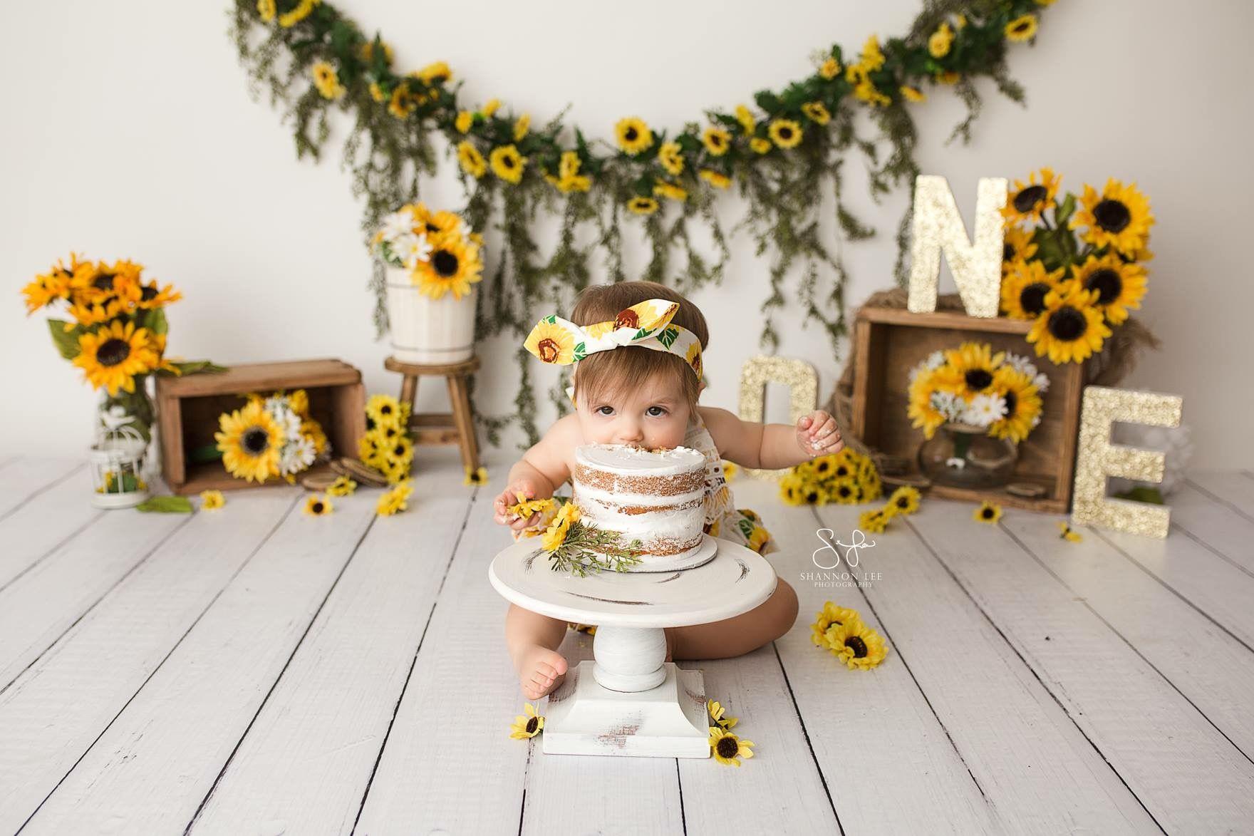 75c110cf7f1 Sunflowers Cake Smash. Sunflowers Cake Smash Baby Girl ...