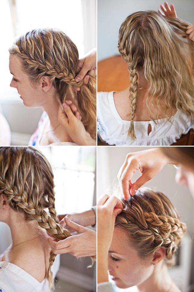 easy crown braid! -just make 2 french braids and cross the braids over once you are done!
