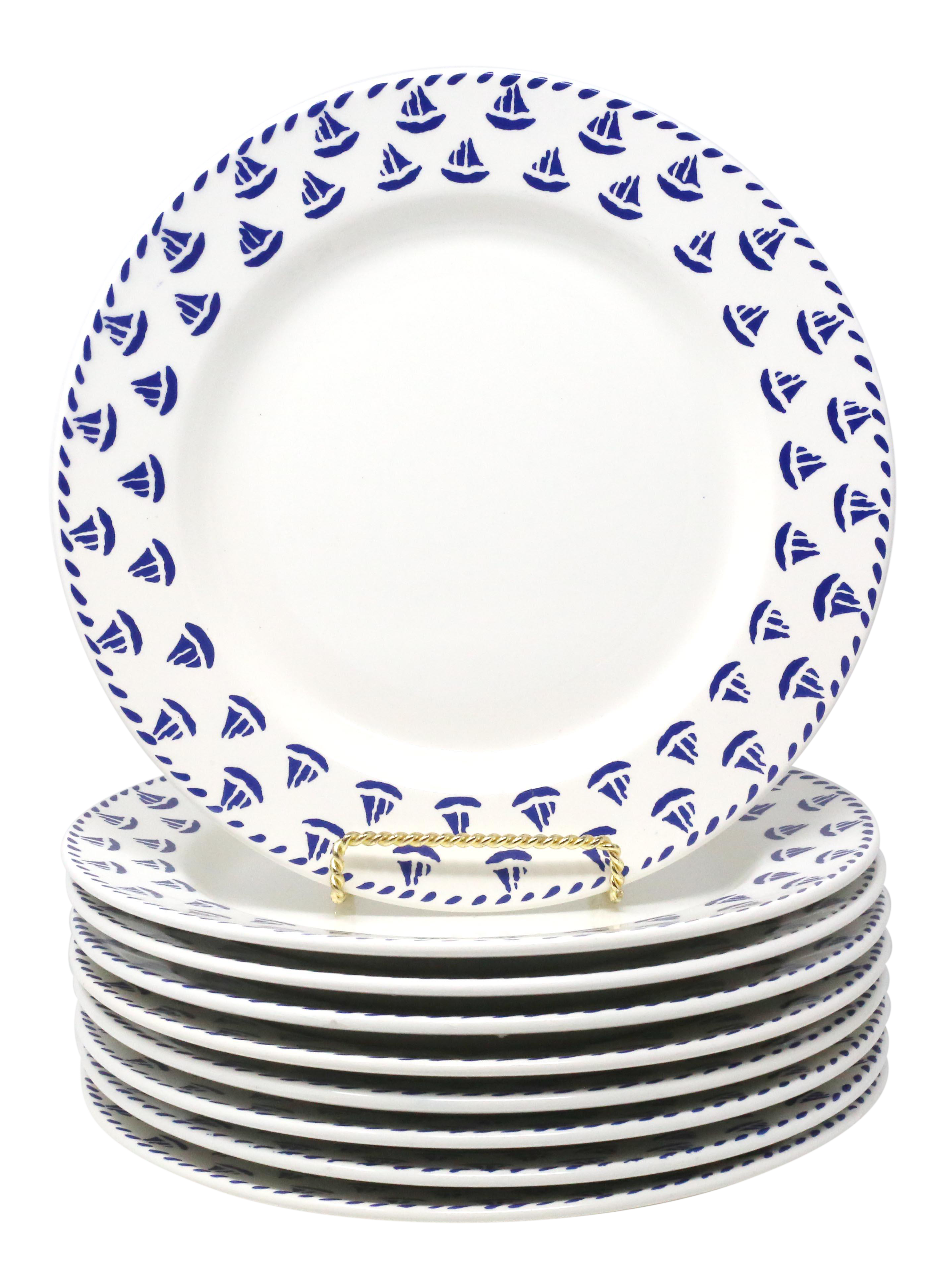 Made In Italy Vintage Italian Nautical Sailboat Dinner Plates By Furio Set Of 9 Plates Dinner Plates Vintage Italian