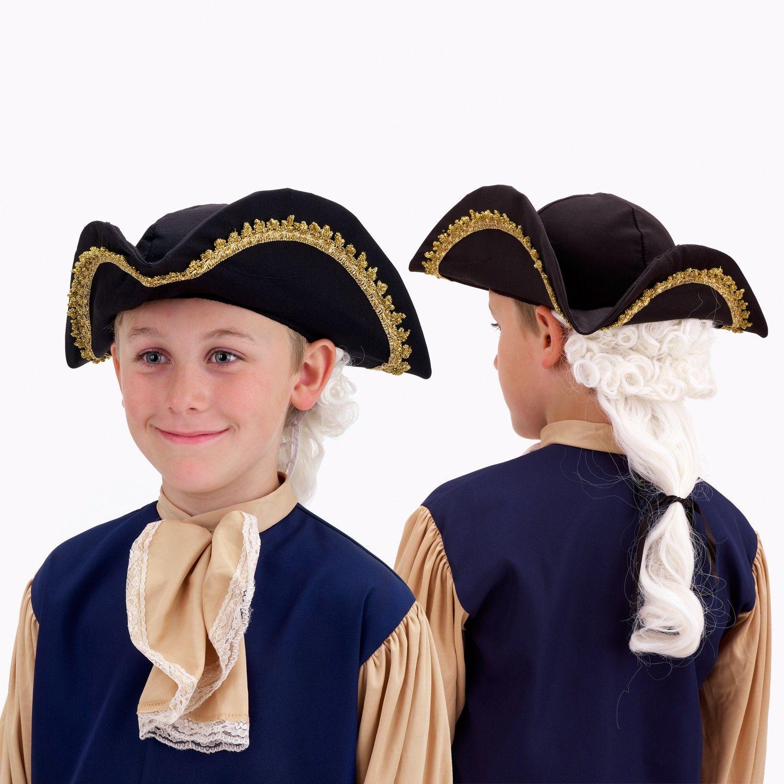 Colonial Man Wig Powder White George Washington Halloween Costume Accessory