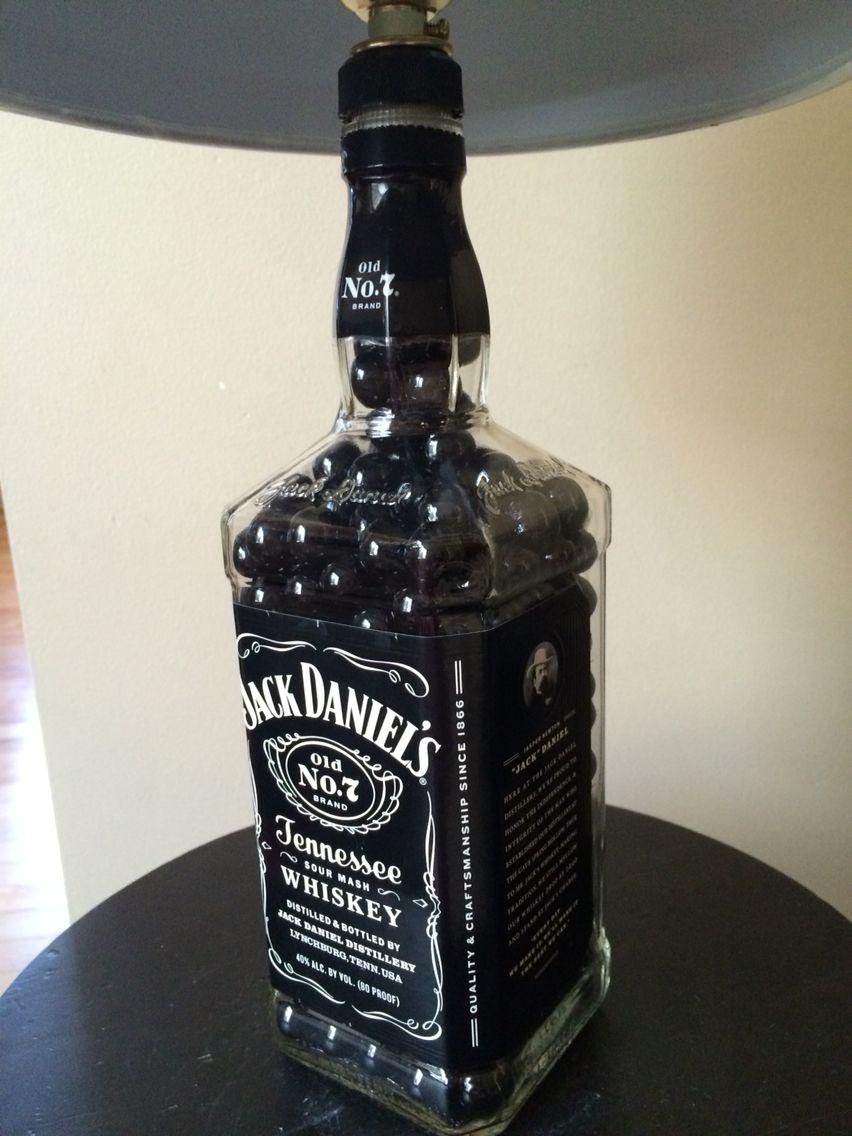 Jack daniels lamp rebottled repurposed bottle lamps for Liquor bottle art