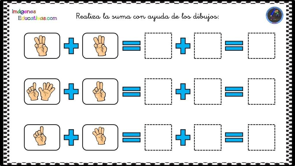 Fichas iniciación a la suma Sumamos con los dedos. en