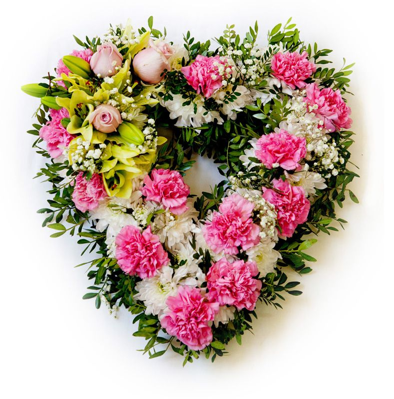 Appreciation. Large heart decorated to the full with pink and white flowers also including pink roses. By Romano Cassar Florists.