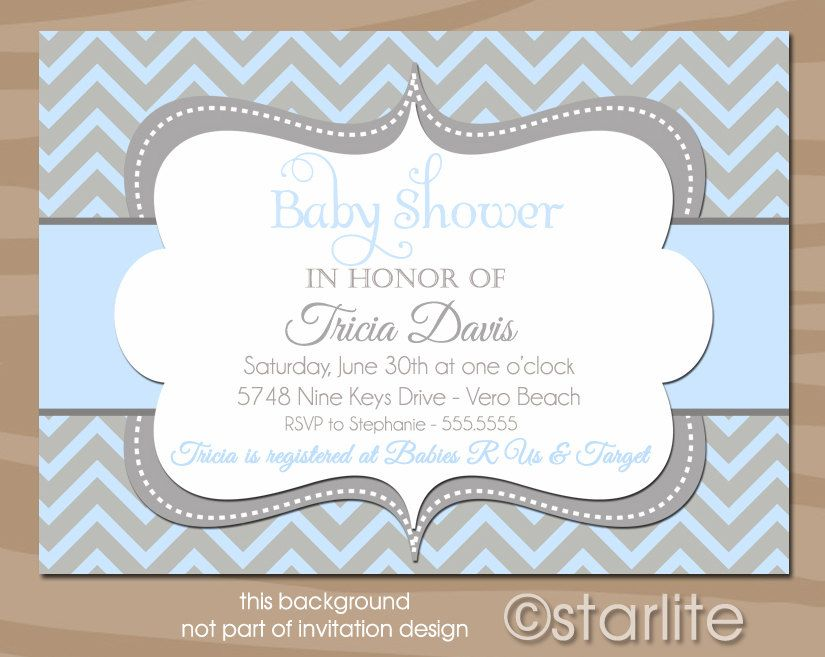 Chevron - Light Blue and Gray Grey - Baby Shower Invitation - Baby ...