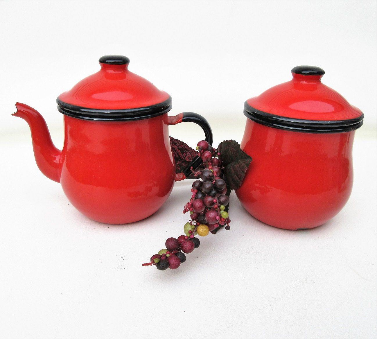 French Ceramic Sugar Bowl 1950s Folk Pottery Country Cottage: Vintage Enamelware, Enamel Tea Pot, Sugar Bowl And Creamer