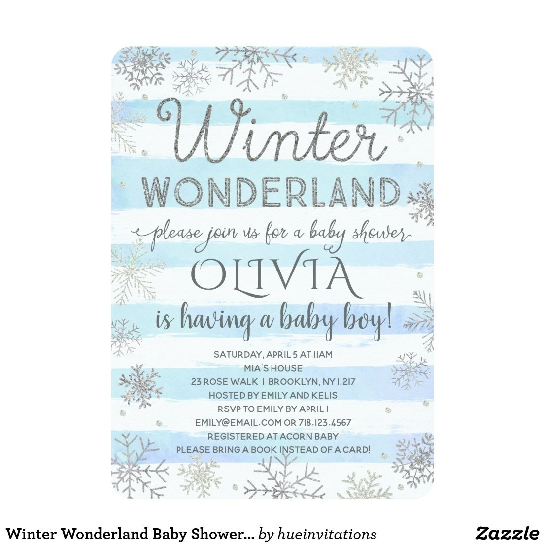 Winter Wonderland Baby Shower Invitation Boy Blue Winter wonderland ...