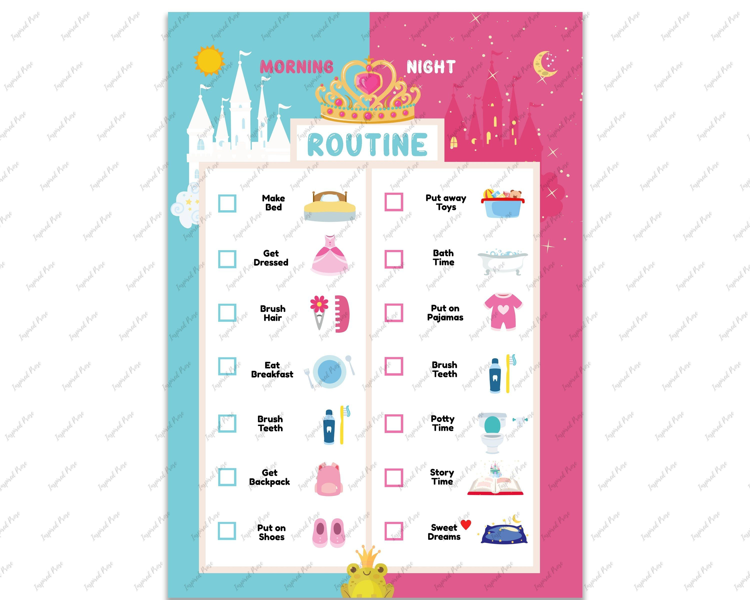 Editable Princess Morning Bedtime Routine Chart In