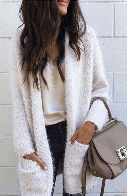 b63e8b2152 cozy white cardigan whit a cream colored blouse. Visit Daily Dress Me at  dailydressme.com for more inspiration women s fashion 2018