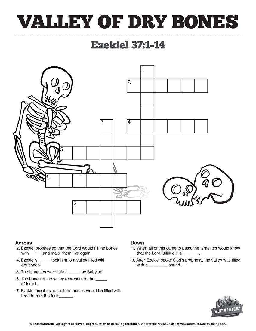 Ezekiel 37 Valley Of Dry Bones Sunday School Crossword Puzzles