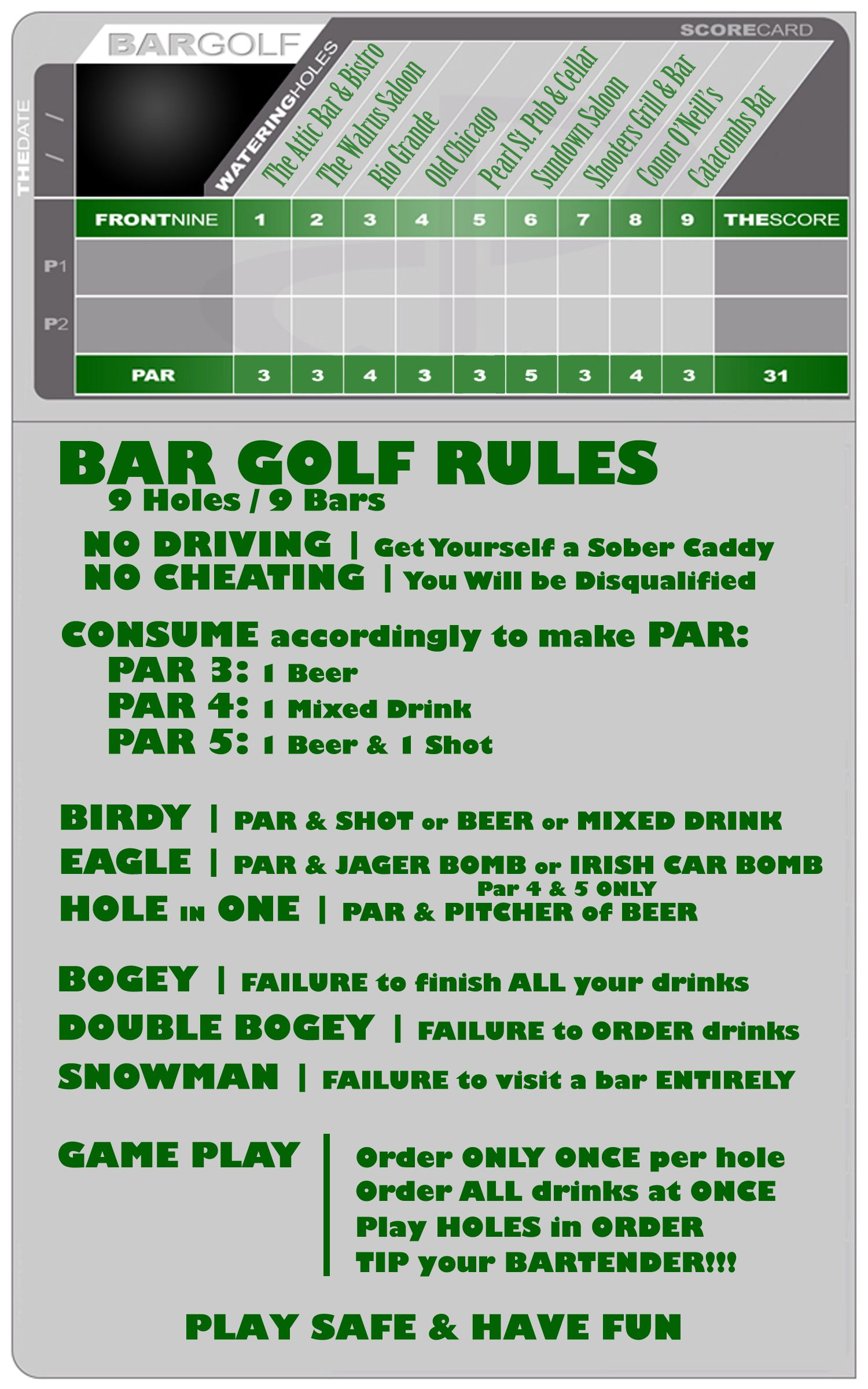 Bar golf pearl street golf party decorations golf