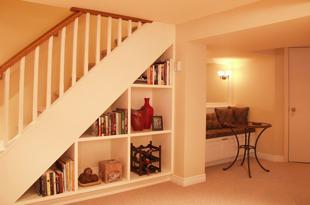 Small Basement Remodeling Ideas Under The Stair Shelves
