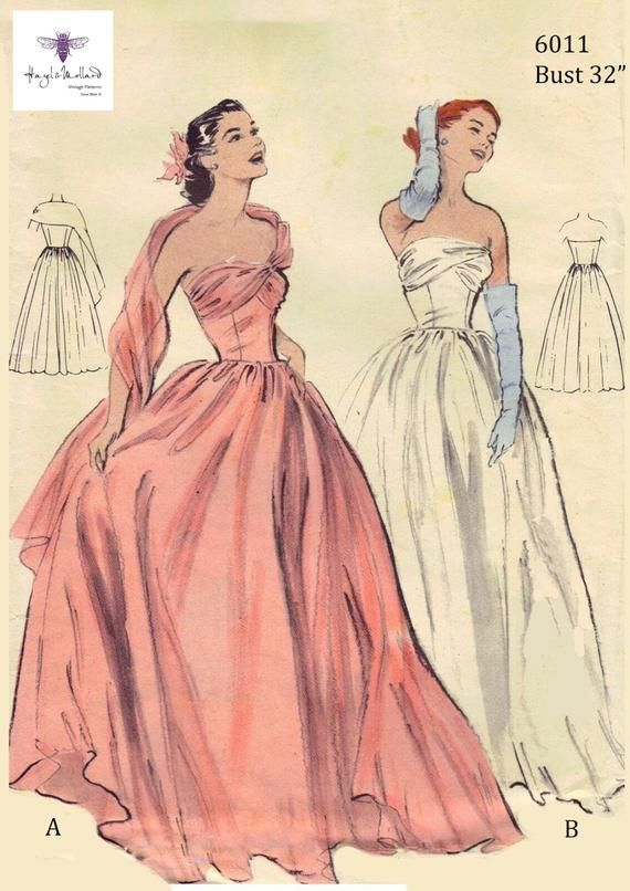 Vintage 1950 S Sewing Pattern Ball Gown Prom Dress Bridal Etsy Prom Dresses Vintage Vintage Ball Gowns Prom Dress Sewing Patterns