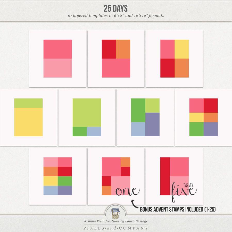 25 Days | Templates | Digital Kit Wishlist | Pinterest | Template