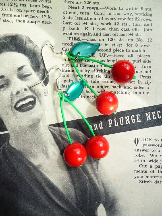 Classic 1950's style red cherry drop earrings by by Luxulite, £11.00